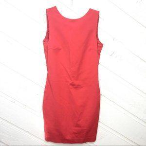 Zara Coral Sheath Mini Dress Draped Back Out d430